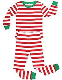 Elowel Boys Girls Christmas Striped 2 Piece Kids Pajamas...