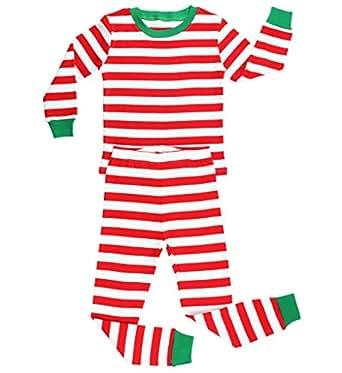 Elowel - Pijama para Bebe Unisexo Chicas Chicos, (Talla 6 m-14 Anos), Algodon, con Diseno de Rojo y Blanco Rayas de Navidad 12-18 Mes