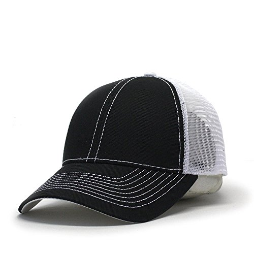 Vintage Year Plain Cotton Twill Mesh Adjustable Trucker Baseball Cap (Black/Black/White) -