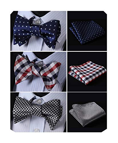 - HISDERN 3pcs Mixed Design Classic Men's Self-Tie Bow tie & Pocket Square - Multiple Sets,B3-05,One Size