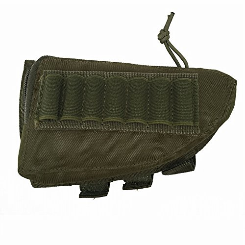 Tactical Area Rifle Stock Pack Cheek Pad Buttstock Ammo Holder and Zippered Utility Pouch