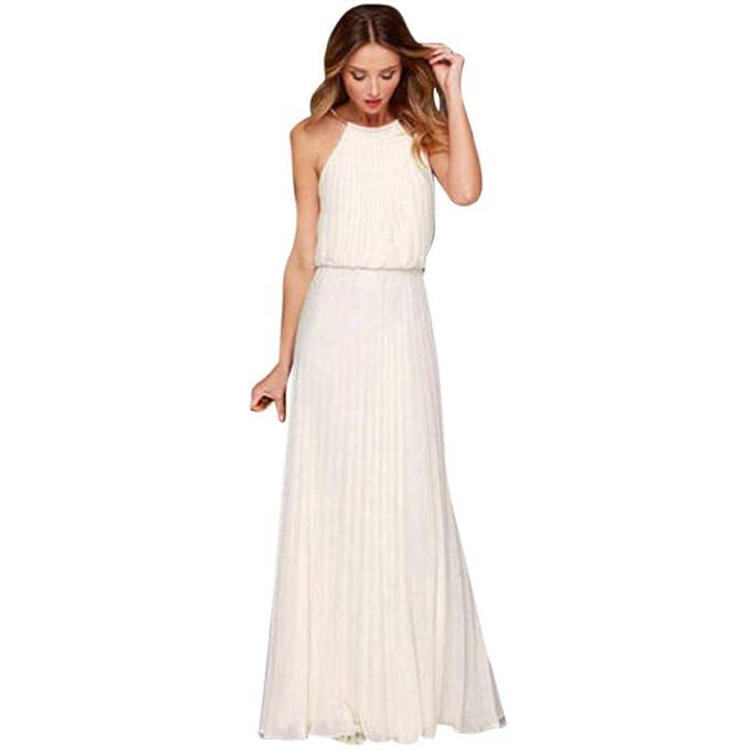 Vestidos Largos De Mujer Elegantes,Moda Diario Sin Mangas Casual Suelto Ahuecar Color Sólido Faldas