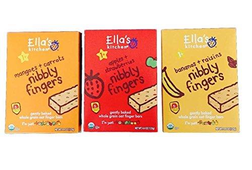 Ellas Kitchen Nibbly Fingers Bundle: Magoes + Carrots, Apples + Strawberries, Bananas + Raisins(1 Box Each) by Ella's Kitchen