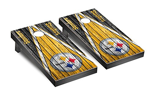 NFL Pittsburgh Steelers Triangle Weathered Version Football Corn hole Game Set, One Size by Victory Tailgate