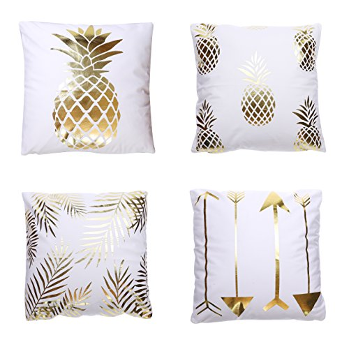 HF Collection Decorative Throw Pillow Covers Pack of 4 Gold Foil Print Cushion Covers for Sofa Bed Couch Square 18 x 18 Inch Short Pile