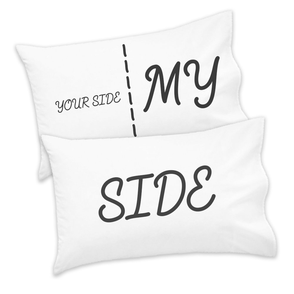 Couples Pack of 2 Cute Pillow Case Your Side My Side Valentines Boyfriend Girlfriend Husband Wife Love Lover Gift Present Cool Funny Gift Present 2-PC-02073-WHT-HH