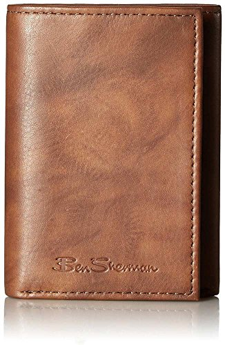 - Ben Sherman Manchester Men's Full Grain Marble Leather Trifold Wallet in Brown