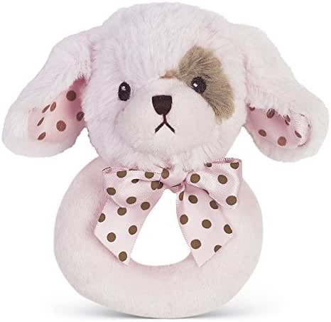 Bearington Baby Wiggles Plush Stuffed Animal Pink Puppy Dog Soft Ring Rattle, 5.5