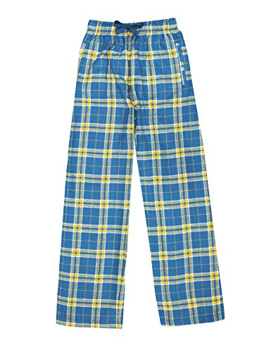Boys Loungewear - Ultra Soft Unisex Youth 100% Cotton Flannel Pants – Royal/Gold, Large