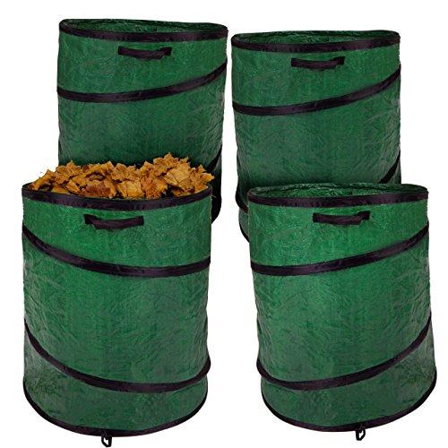 Anaterra 4X Laubsack Garten-Abfallsack, Pop-Up Laubbehälter mit verstärktem Rahmen, 160 Liter, grün, faltbar