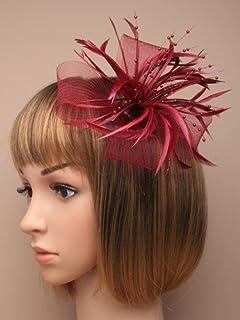 ff65af82 Allsorts® Burgundy Looped Beak Clip Feather Hat Fascinator Ladies Day Royal  Ascot Weddings