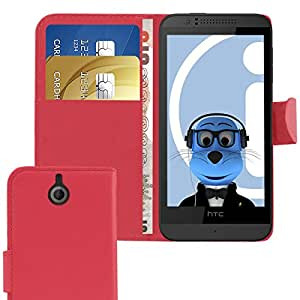 iTALKonline HTC Desire 510 Red PU Leather Executive Multi-Function Wallet Case Cover Organiser Flip with Credit / Business Card Money Holder