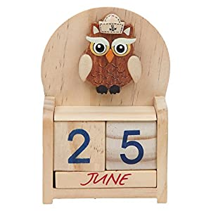 Home X Perpetual Wood Desk Calendar, Owl Design Wood Calendar