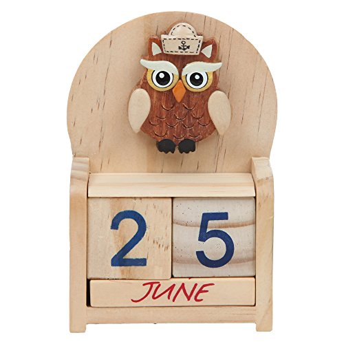 Home-X Perpetual Wood Desk Calendar, Owl Design Wood Calendar (Owl Desk Calendar)