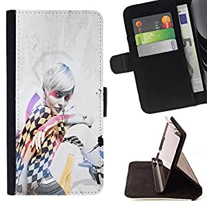 DEVIL CASE - FOR Samsung Galaxy S5 V SM-G900 - Pin Up Race Girl - Style PU Leather Case Wallet Flip Stand Flap Closure Cover