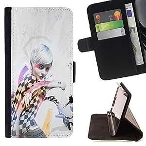 Momo Phone Case / Flip Funda de Cuero Case Cover - Chica Mujer de pelo Blanco Negro Blanco Cuadrados Arte - Samsung Galaxy J3 GSM-J300
