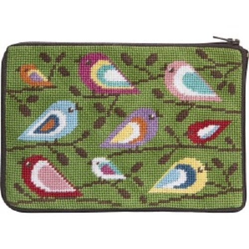 Stitch & Zip Needlepoint Purse/Cosmetic Case-SZ598 Birds of Color Alice Peterson & Co. 4336936257
