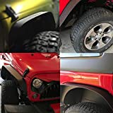 TURBOSII Flat Style Front and Rear Fender Flares Kits for 2007-2015 Jeep Jku Rubicon Wrangler Unlimited Sport Sahara Jk 4 Door 2 Dr