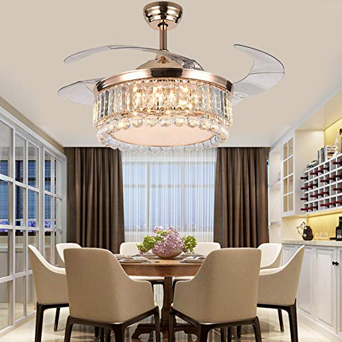 42 Crystal Ceiling Fan Chandelier Retractable Blade Ceiling Fan With Light Dimmable Ceiling Fan Lamp Fandelier with Remote Control 3-Color 3-Speed 2 Down rod Style 2