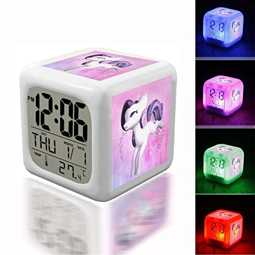 Wake Up Alarm Thermometer Night Glowing Cube 7 Colors Clock LED for Bedroom&Table,School Desk Customize 158. Pony, Kick, Sweet, Purple, White - 2848790 (My Little Pony Projection Alarm Clock Radio)