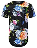 URBANTOPS Mens Hipster Hip Hop Spring Rose Floral Longline T-Shirt Black, S