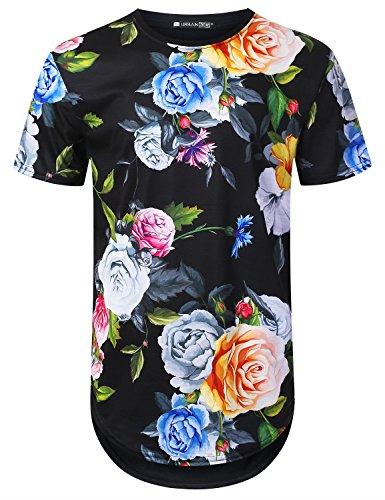 URBANTOPS Mens Hipster Hip Hop Spring Rose Floral Longline T-Shirt Black, ()
