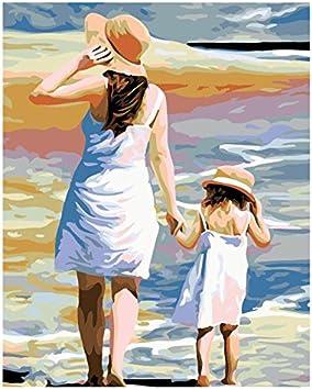 per bambini e adulti Kit per pittura a olio fai da te per dipingere con i numeri Caf/é 16 x 20 pollici cornice