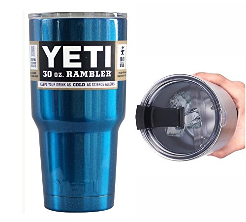 YETI Coolers 30 Ounce (30oz) (30 oz) Custom Rambler Tumbler Cup Mug with Exclusive Spill Resistant Lid (Blue Metallic)