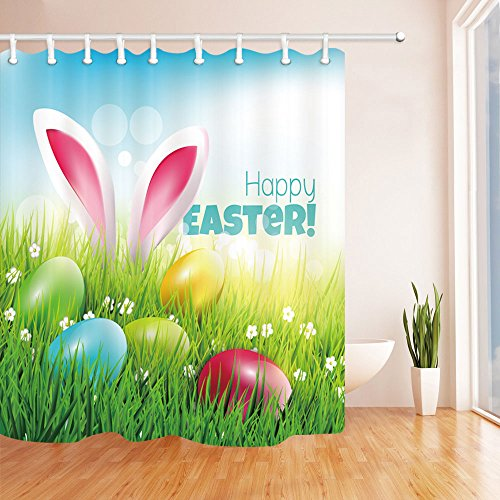 NYMB Happy Easter Bath Curtain, Polyester Fabric Waterproof Spring Festival Rabbit and Easter Eggs in Grass and Flower Shower Curtains, 69X70inch, Shower Curtain Hooks Included, Green
