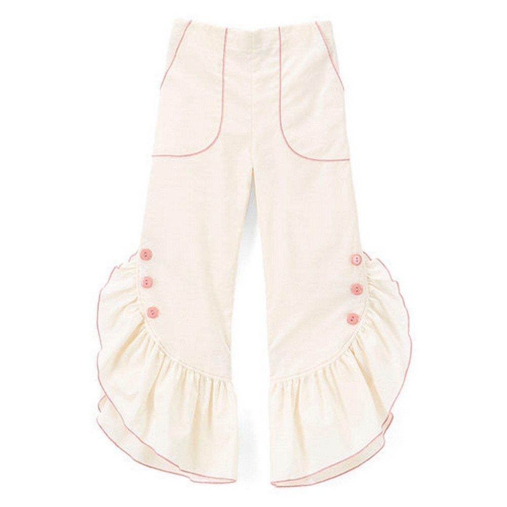 Little Girls Ivory Pink Ruffled Trim Button Detail Cotton Pants 3T