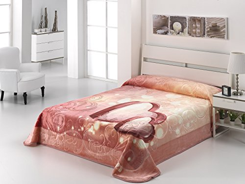 European - Made in Spain warm blanket The Wedding Gift 220x240 Rosa Color 1 PLY by MORA Blankets