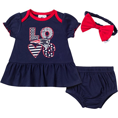 NFL New England Patriots Girls Dress, Panty & Headband Set (3 Piece), 3-6 Months, Navy