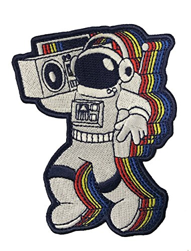 """""""Rocking Astronaut"""" Spaceman with a Boombox Iron On Patch"""