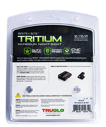 TRUGLO Tritium Handgun Glow-in-The-Dark Night Sights for Ruger Pistols