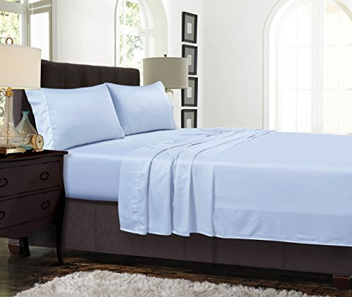 TRIBECA LIVING TENC300SSTWBL 300 Thread Count Tencel Deep Pocket Sheet Set, Spa Blue, Twin by TRIBECA LIVING