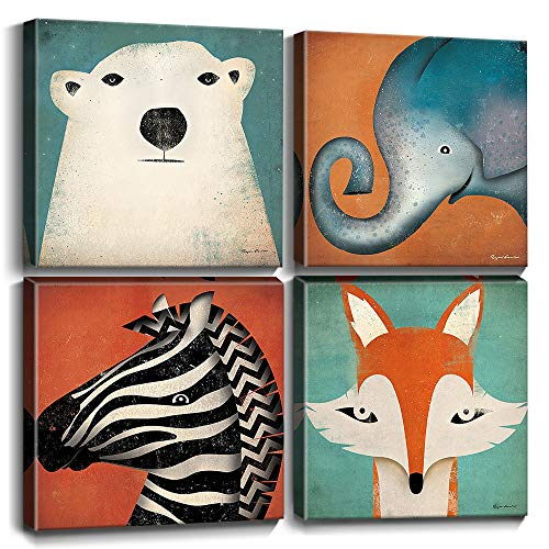 Toddler Wall Decor Cartoon Animals Canvas Prints Wall Art for Kids Room Home Decoration Cute Polar Bear Elephant Fox Zebra Painting Pictures Framed Artwork Bedroom Bathroom Nursery Set 12