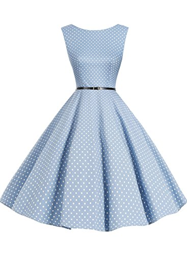 Bbonlinedress 1950s Retro Vintage Swing Rockabilly Floral Party Cocktail Dress Blue Small White Dot M - Black 50s Dress