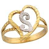 10k Two Tone Gold Fancy Cursive Letter S Unique Heart Initial Ring