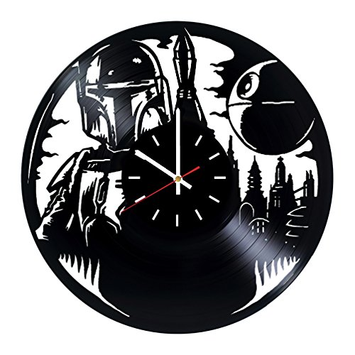 Star Wars Boba Fett Vinyl Record Wall Clock - Living room wall decor - Gift ideas for father and mother, teens - Unique Art Design
