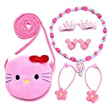 Little Girls Plush Bag Necklace Clip-on Earrings Hair Clips Jewelry Set