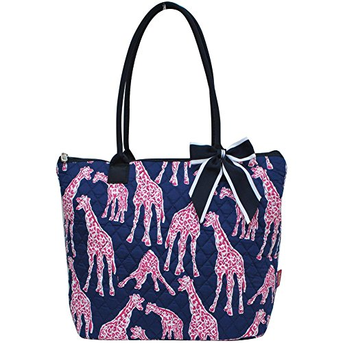 Ngil Quilted Cotton Owl Medium Tote Bag II (Giraffe Navy (Quilted Giraffe)