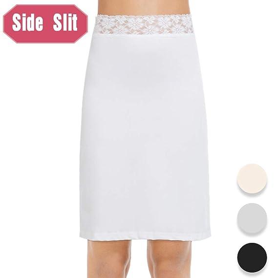 Subuteay Half Slip for Women Midi Underskirt Floral Lace Waistband Side Slit Skirt