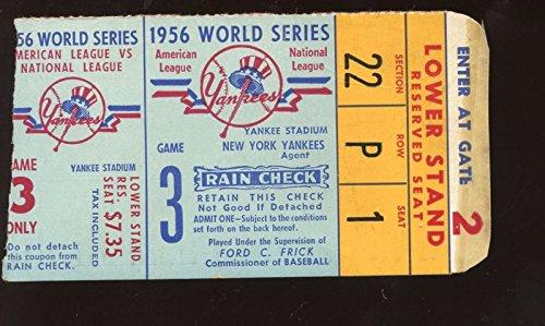 1956 World Series Ticket Stub Brooklyn Dodgers At New York
