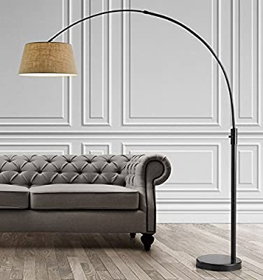 HomeTREND Orbita Arch Floor Lamp, Dimmer, 12W Dimmable LED Bulb Included - Dark Bronze with White shade