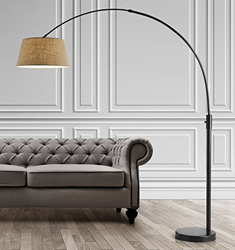 HomeTREND Orbita Arch Floor Lamp, Dimmer, 12W Dimmable LED Bulb Included - Dark Bronze with Brown Linen Shade (Lamp Arch Floor)
