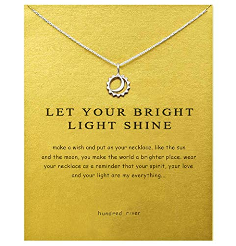 Hundred River Sun and Moon Necklace Moon Gifts Necklace with Message Card Gift Card (Smalll Moon -