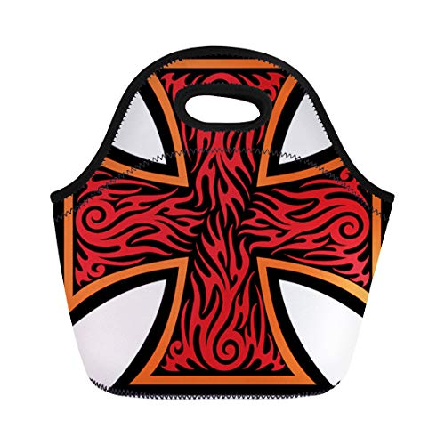 (Semtomn Lunch Tote Bag Maltese Iron Cross in Tribal Tattoo Celtic Catholic Christian Reusable Neoprene Insulated Thermal Outdoor Picnic Lunchbox for Men Women)