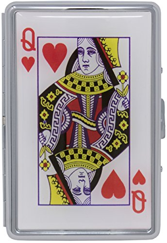 Queen of Hearts Compact (16 100s) Metal-Plated Cigarette Case & Stash -