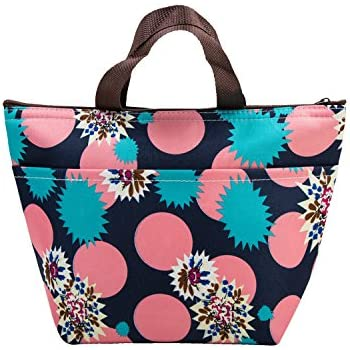 Lunch Bags, Arricastle Oxford Cloth Aluminum Foil Insulated Zip Cooler Bag Portable Takeaway Aluminum Film Pack Cooler Bag Lunch Box Package (Flowers)