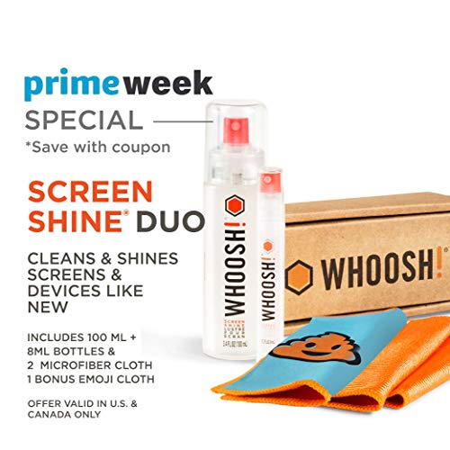 WHOOSH! Screen Cleaner Kit - Safe for All Screens - Smartphones, iPads, Eyeglasses, Kindle, LED, LCD & TVs - Includes 2 Bottles 3.4oz,0.3.oz +3 Premium Cloths - Amazon Pack ()